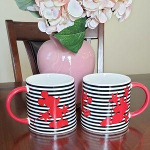 Disney set of 2 porcelean red striped coffee mugs